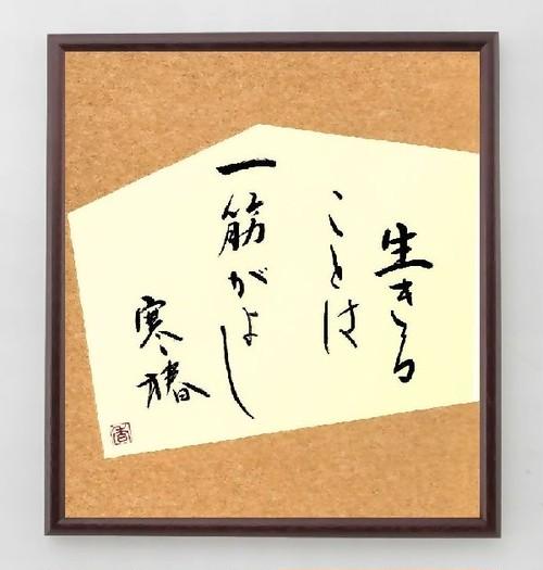 五所平之助の名言色紙『生きることは、一筋がよし、寒椿』額付き/直筆済み/A0170