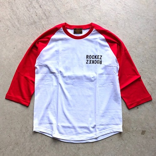 "ROCKEZ ""Double Logo"" 3/4 Raglan Sleeves Tee -WHITE×RED-"