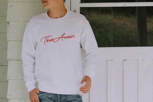 【10/2 21:00発売開始】ThreeArrows スウェット(white ×  red)