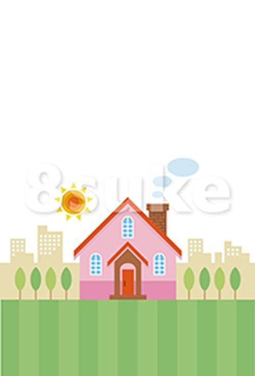 イラスト素材:マイホームと街並み(ベクター・JPG)