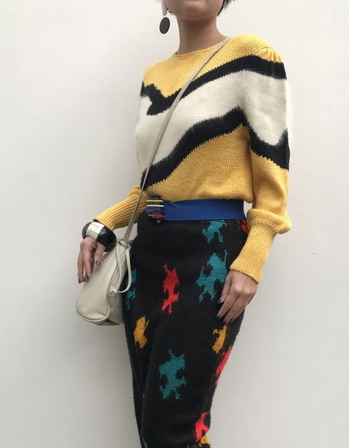 80s yellow knit tops ( ヴィンテージ  ニット トップス )