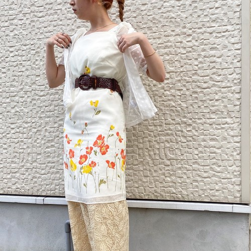 (LOOK) flower print puff sleeve tight one-piece