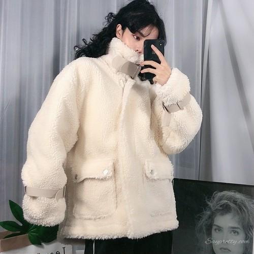 【アウター】秋冬韓国系スタンドネックベルベットジャケット