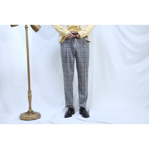 blue×gray checked slacks
