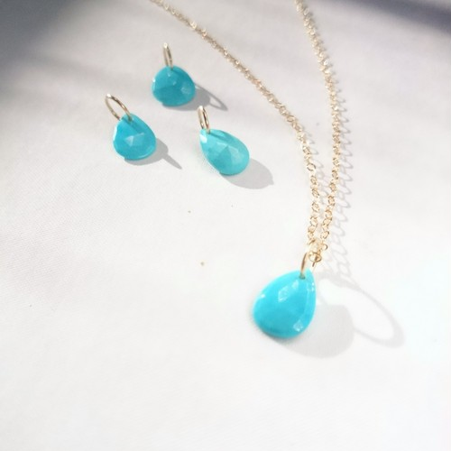 送料無料 14kgf♡sleeping beauty turquoise drop necklace