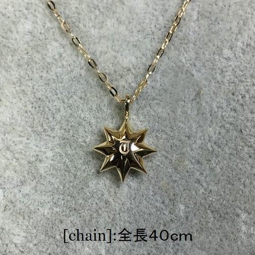 K18太陽ペンダント(イニシャル・ダイヤ入り)チェーン全長40cm