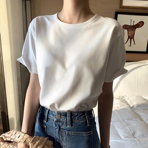 Tシャツ 半袖 コットン 綿 カジュアル シンプル ラウンドネック 無地 夏 オフィス 通勤 ソリッドカラー ゆったり