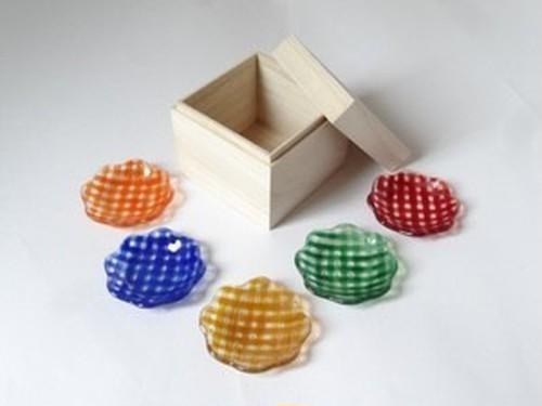 ギンガムチェックの豆花皿5枚セット