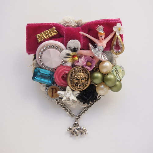 Ribbon collage broach S