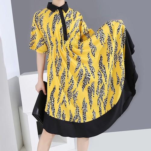 シャツワンピース レオパード 折り襟 韓国ファッション レディース ワンピース ヒョウ柄 ゆったりウエスト ロングシャツ ハイウエスト 大人カジュアル 大人可愛い