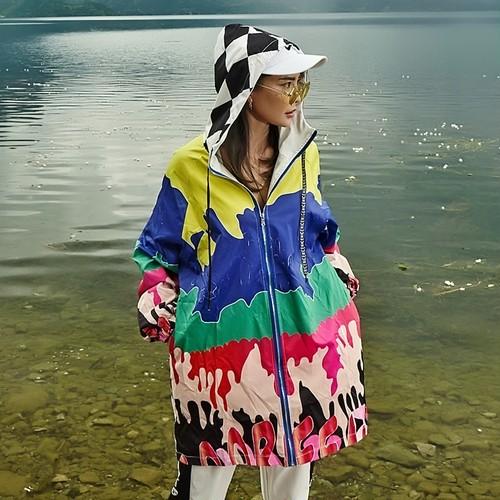9625秋春 ジャケット レディース ゆったり コート BF風 長袖  大きいサイズ ロング ジップアップ ヒップホップ 原宿系 プリント ブルゾン