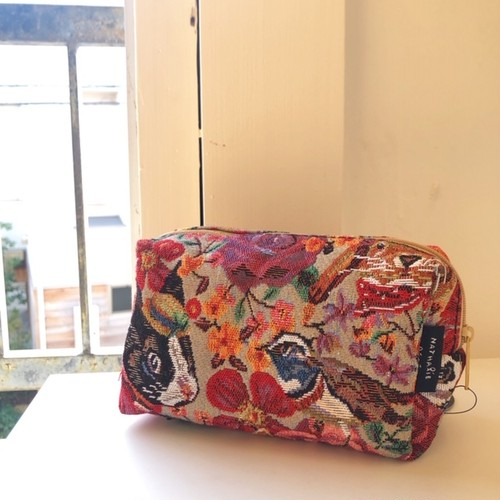 Nathalie Lete square pouch / Rabbit&flower ナタリーレテ ゴブラン織ポーチ