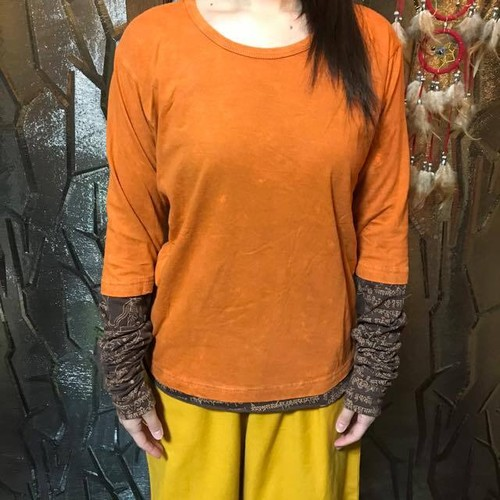 バリブラン クシュクシュ袖エスニックTシャツ オレンジ