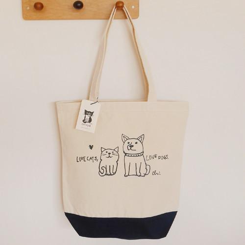 再入荷♪トートバッグ[Love cats, Love dogs.1]M ナチュラル×ネイビー
