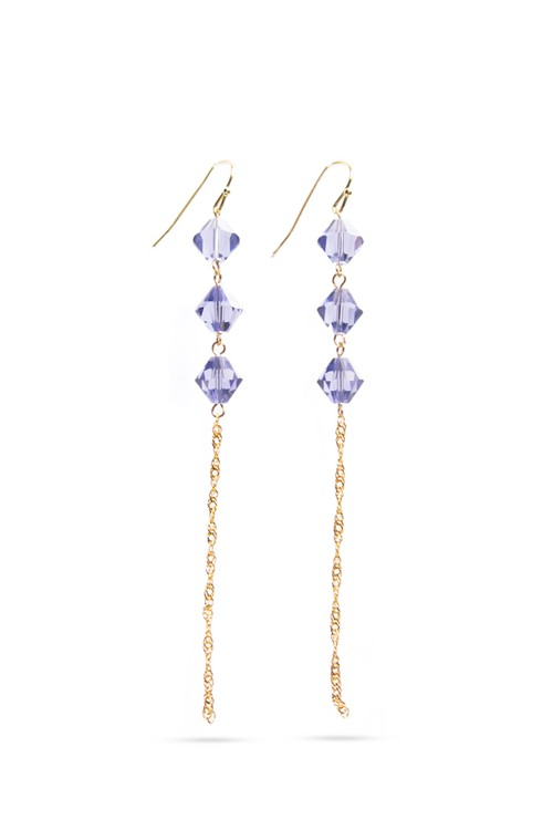 Triple Crystal Drop Hook Earrings