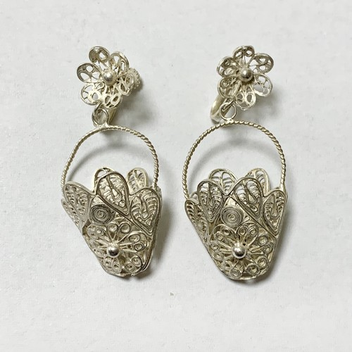 Vintage  Sterling Filigree Floral Basket Dangle Earrings Made In Mexico