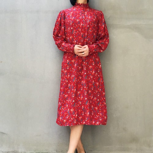 70's Red floral print high-neck dress