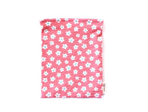ハリネズミ用寝袋 M(夏用) 綿リップル×スムースニット フラワー ピンク