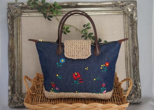 刺繍&クロッシェのminiトートバッグ(デニム)