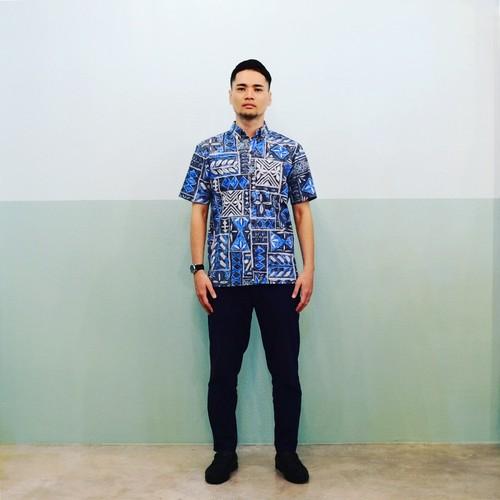 Mountain Men's  ボタンダウンアロハシャツ / 60's タパ柄 Blue / 残り僅か