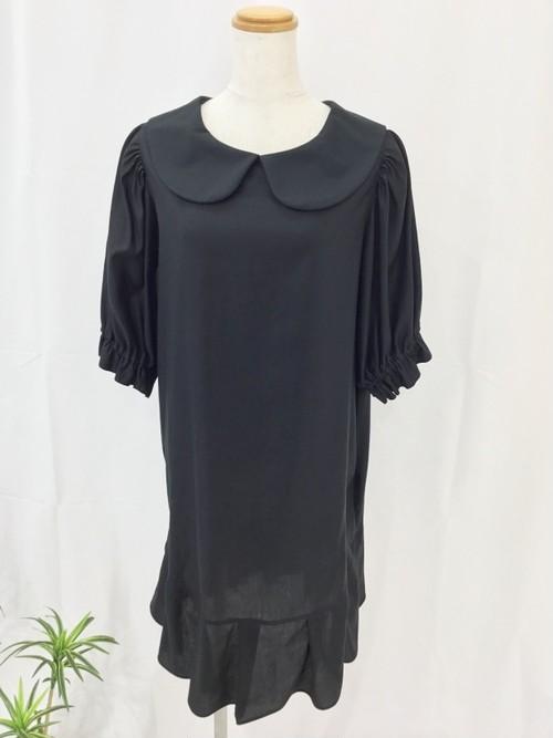 上質なコットンサテンで作った、さらさらエレガントスタイル。 ふっくら五分袖&裾フリルの上品Aライン丸襟リトルブラックドレス。一点もの コットン100% 高級 大人 通勤 通学 パーティ オールシーズン 万能 快適