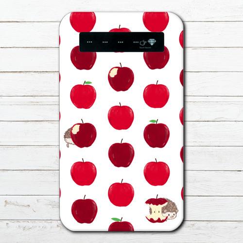 #053-050 モバイルバッテリー おすすめ ハリネズミ かわいい おしゃれ iphone Android スマホ 充電器 タイトル:林檎をかじったのは誰? 作:Hanami