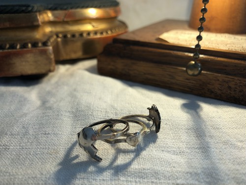 AMERICA  vintage silver gimmick heart ring