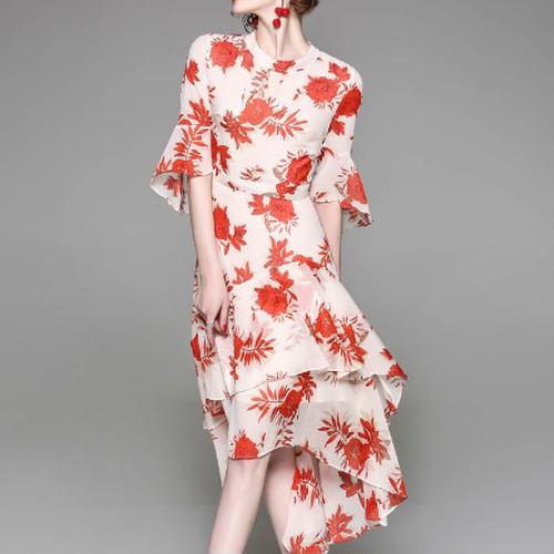 花柄 フィッシュテール ワンピース フリルスリーブ ティアード レディース ファッション エレガント 二次会 女子会(A797)