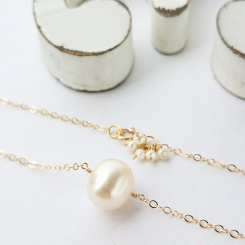 送料無料 14kgf*BIG pearl bubble necklace
