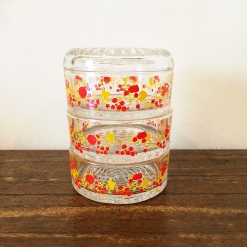 HOYA 小花柄 3段ガラスキャニスター
