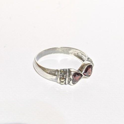 "vintage silver ring ""garnet-heart"" 浄化クリーニング済み♪"