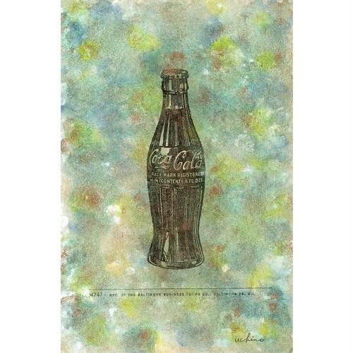 「コカ・コーラ」 古い紙にアクリル * 現代アート ドローイング ヴィンテージ アンティーク 内野隆文 takafumiuchino