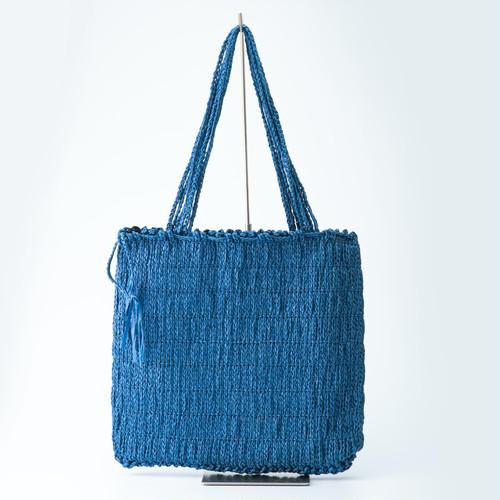 [未来に繋ぐ伝統技法] 和紙の縄文編みトートバッグ(ネイビー)