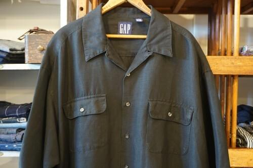 early 90's GAP black linen× rayon s/s Shirt