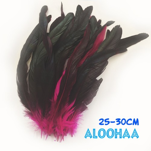ロングフェザー 【ピンク】#30-002PK25-CT  25~30cm タヒチアン 衣装 材料 ルースターテール 染め 羽根