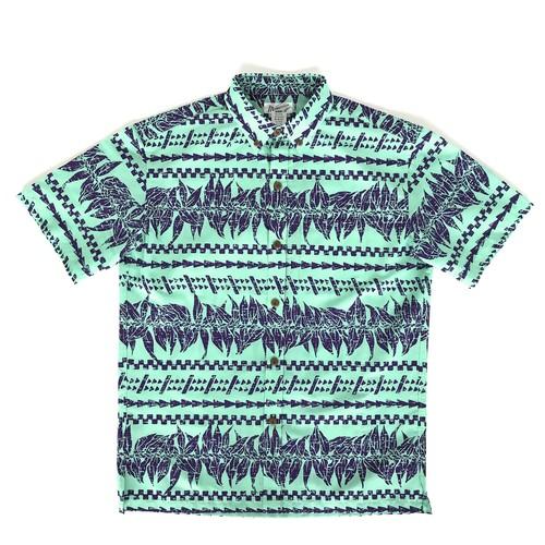 Mountain Men's / ボタンダウンアロハシャツ / マイレ&タパ / ターコイズ