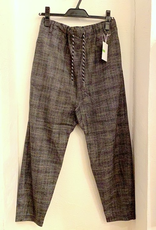 Plaid Pattern Tapered & Easy Design Pants Charcoal