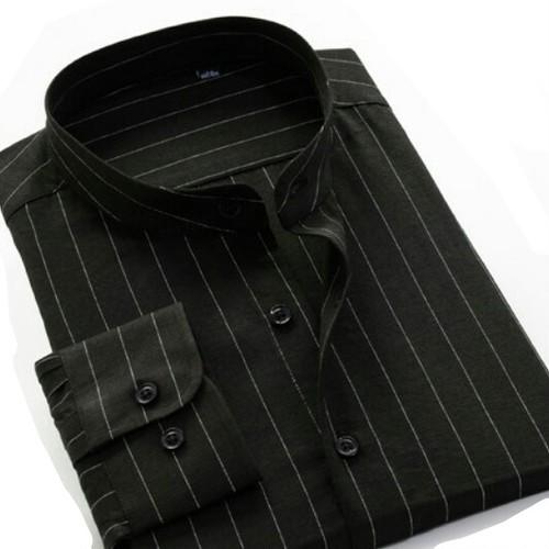 送料無料メンズ/大きいサイズ/ボトルネック/ストライプ長袖シャツ/黒/白