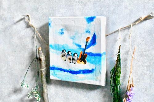 氷上でペンギンとギターが出逢うファブリックパネル・Mサイズ