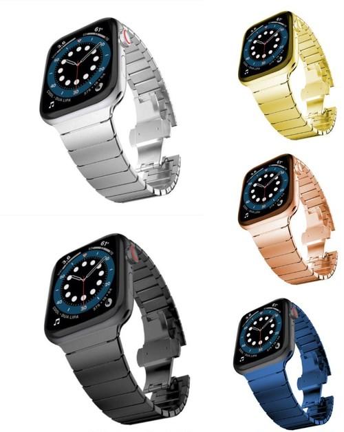 カラフルステンレス クールなデザインで差をつける メタル アップルウォッチ 男女兼用 替えバンド ベルト Apple Watch belt 38mm/42mm/40mm/44mm ★ [MM019]