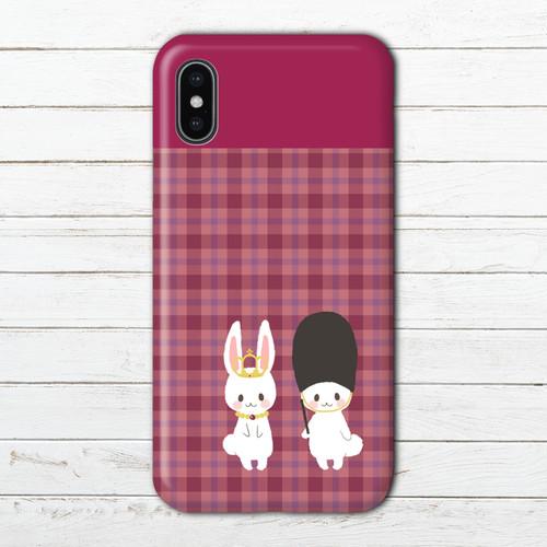 #053-053 iPhoneケース スマホケース 人気 女子 シンプル iPhone11 Pro Xperia XZ3 ケース かわいい GALAXY Google Pixel 3 AQUOS タイトル:チェックうさぎ 赤色 作:Hanami