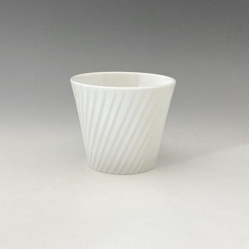 【中尾純】白磁線彫蕎麦猪口(斜め)