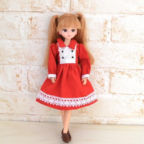 22cmドールサイズ 赤のワンピース(リカちゃん、ブライスなど)