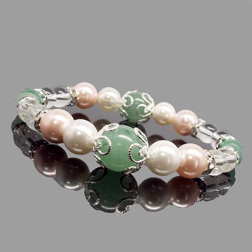 天然石 アベンチュリン シェルパール 水晶 デザインブレスレット