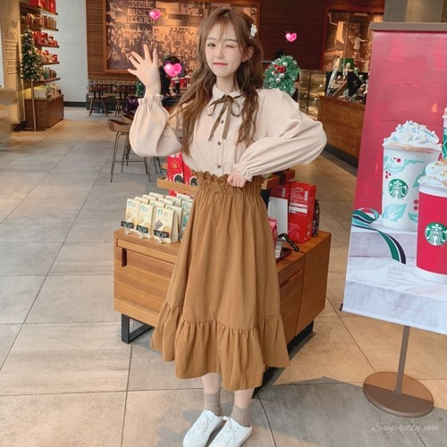 【セットアップ】リボンカラースウィートスエード生地シャツ+Aラインスカート二点セット