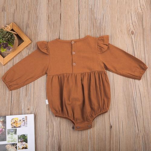 ロングスリーブコットンロンパース (ブラウン) 70 80 サイズ 赤ちゃん 女の子 ベビー服 秋 キッズ かわいい