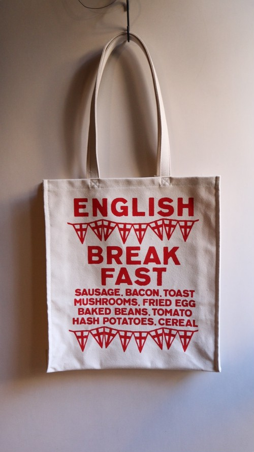 R&D.M.Co-/OLDMAN'S TAILOR English Breakfast Tote Bag トートバック RED【お問い合わせ商品】