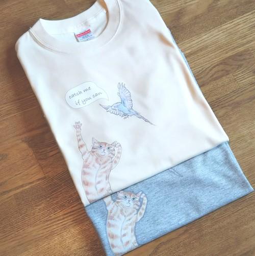 猫と鳥のロングスリーブTシャツ
