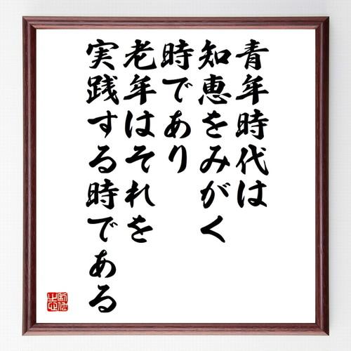 ルソーの名言色紙『青年時代は知恵をみがく時であり老年はそれを実践する時である』額付き/受注後直筆/Z0012