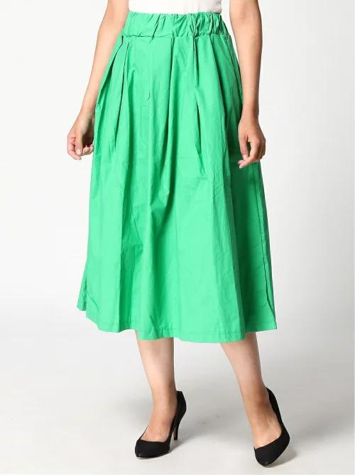 DRESドレス ギャザーコットンロングスカート/グリーン